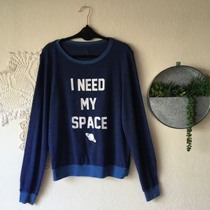 Wildfox I Need My Space Blue Baggy Beach Jumper